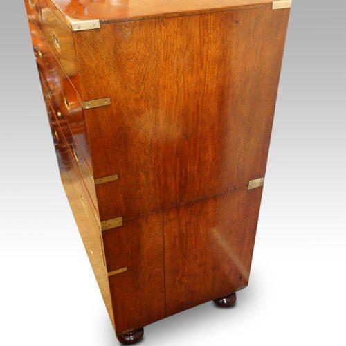Victorian teak secretaire military chest side