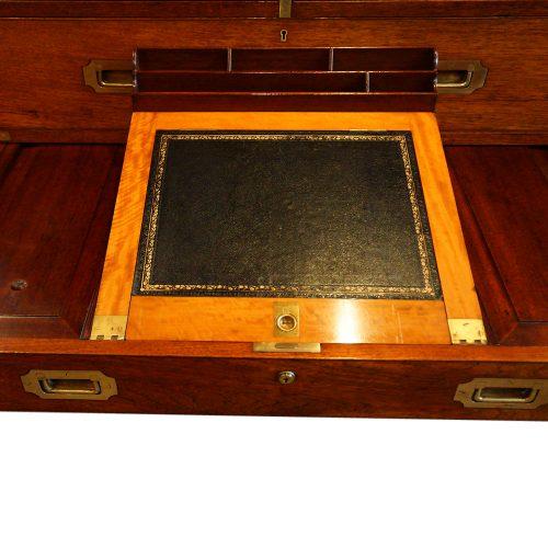 Victorian teak secretaire military chest stationary box