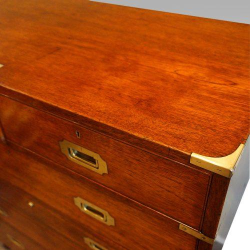 Victorian teak secretaire military chest top