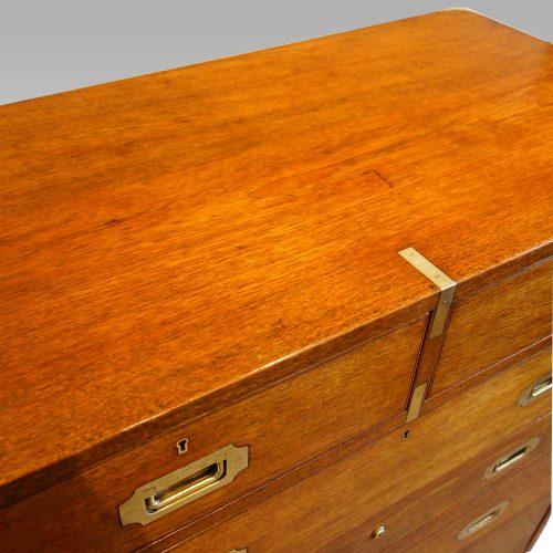 Victorian teak secretaire military chest top detail