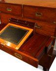 Victorian teak secretaire military chest writing slope