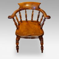 Victorian yew wood captains chair