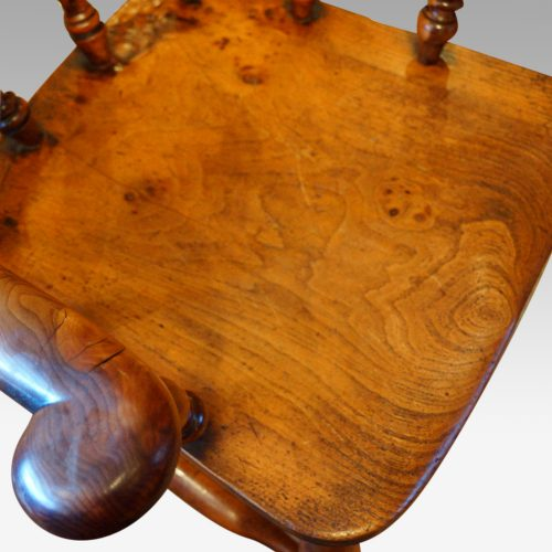 Victorian yew wood captains chair seat