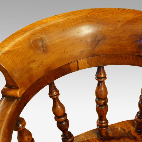 Victorian yew wood captains chair top rail