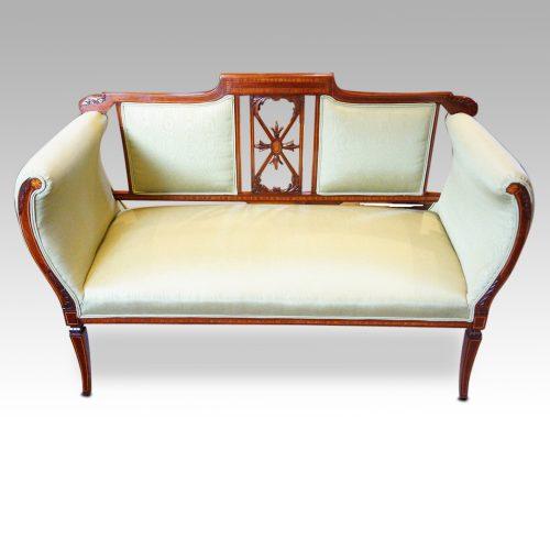 Edwardian inlaid mahogany small settee
