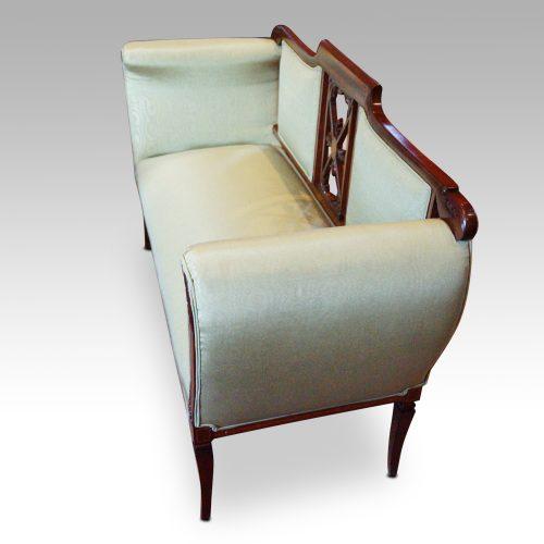 Edwardian inlaid mahogany small settee end