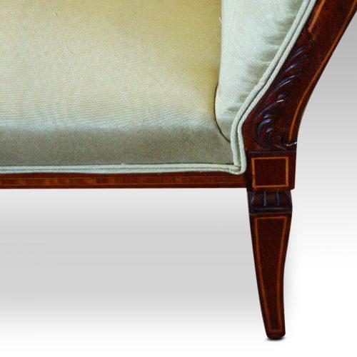 Edwardian inlaid mahogany small settee leg