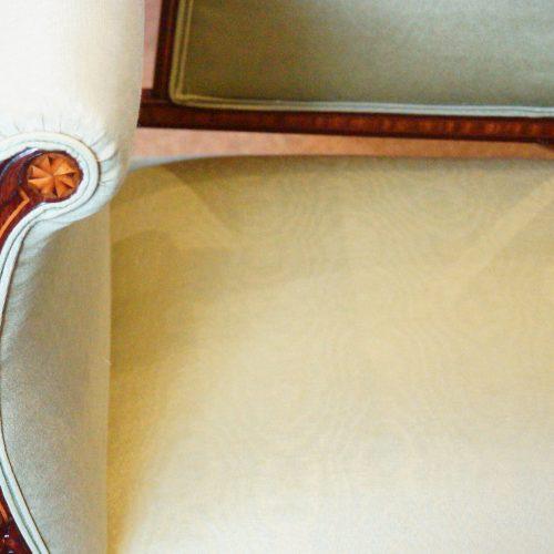 Edwardian inlaid mahogany small settee material