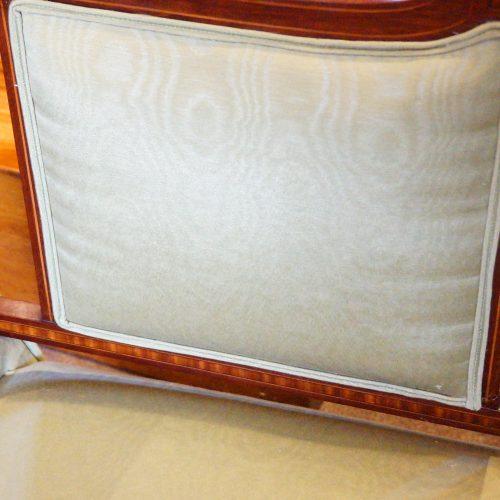 Edwardian inlaid mahogany small settee panel