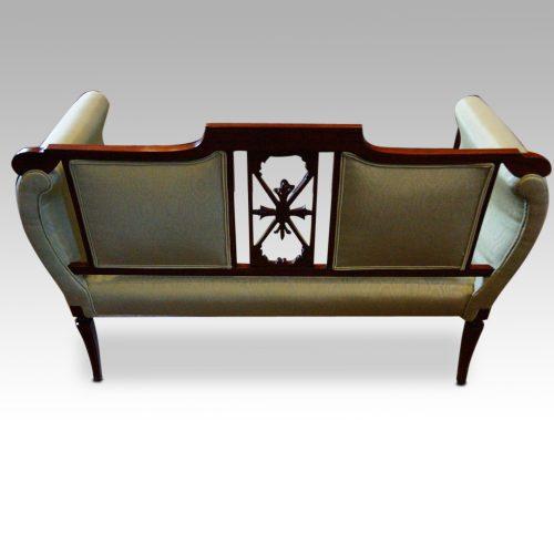 Edwardian inlaid mahogany small settee rear