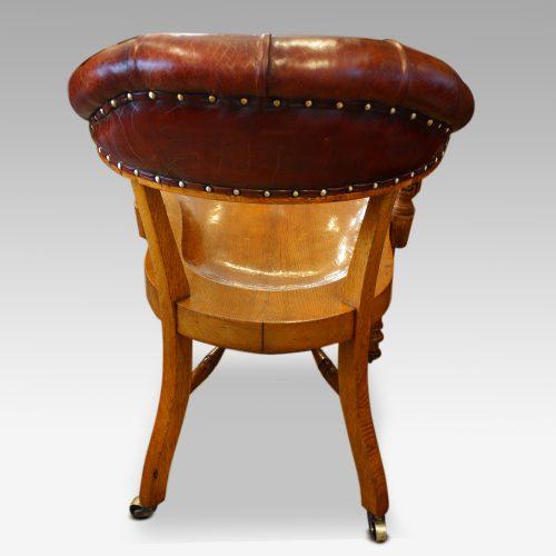 Edwardian oak desk chair by Bros. rear