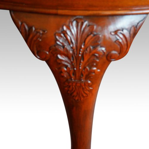 Maple & co mahogany extending dining table carving detail