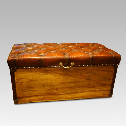 Victorian camphor trunk with leather corners