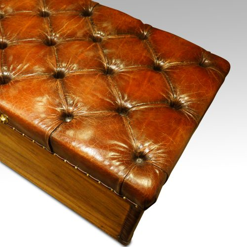 Victorian camphor trunk with leather corners butoon top