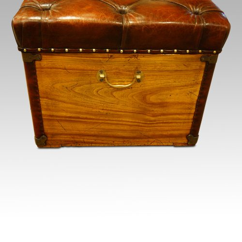Victorian camphor trunk with leather corners end