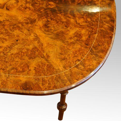 Victorian inlaid walnut Sutherland table corner