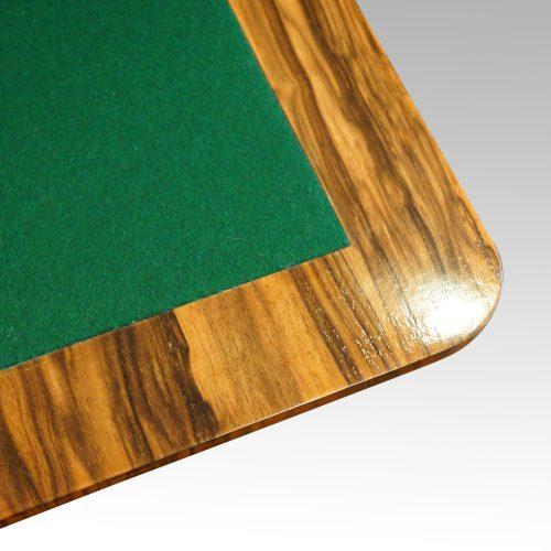 Victorian inlaid walnut card table corner interior