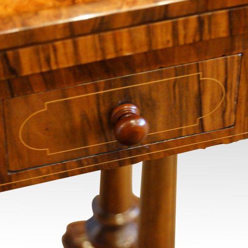 Victorian inlaid walnut card table drawer