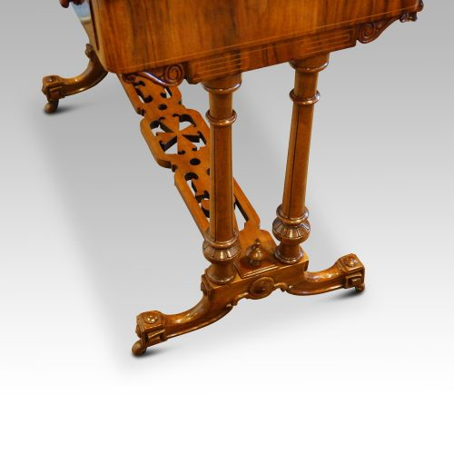 Victorian inlaid walnut card table end view