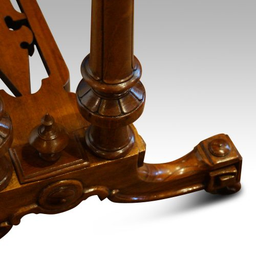 Victorian inlaid walnut card table leg