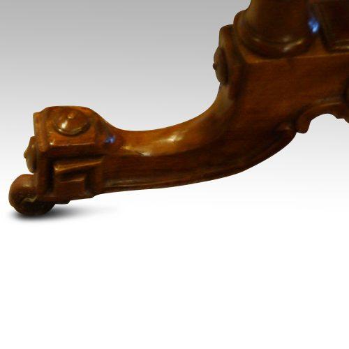 Victorian inlaid walnut card table leg view
