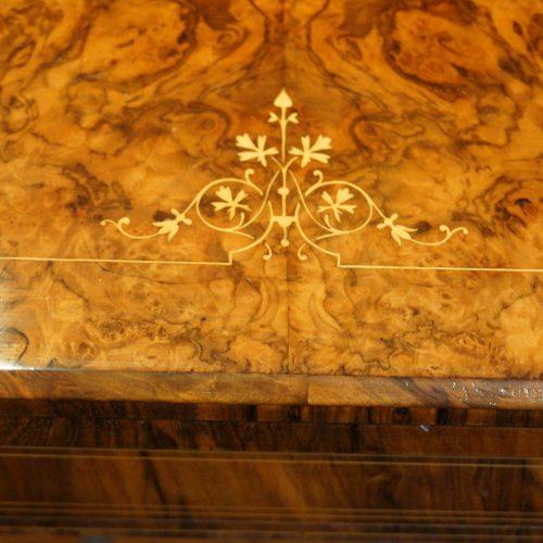Victorian inlaid walnut card table motif