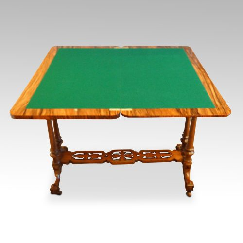 Victorian inlaid walnut card table open