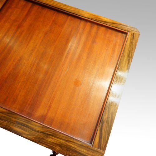 Victorian inlaid walnut card tablelining