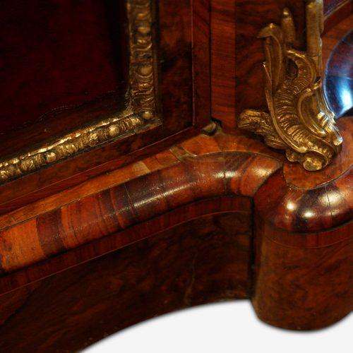 Victorian walnut open end credenza bottom moulding