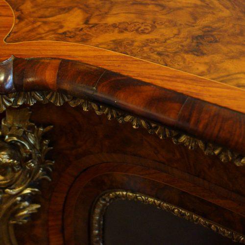 Victorian walnut open end credenza edge moulding