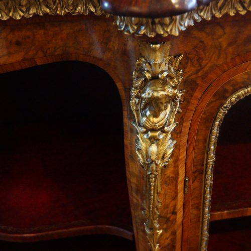 Victorian walnut open end credenza edge mount