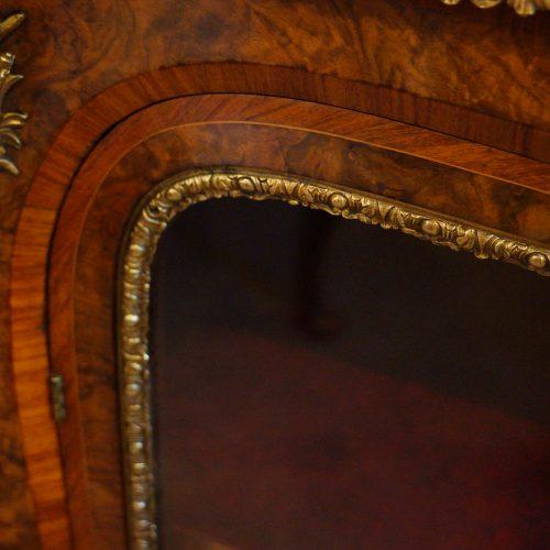 Victorian walnut open end credenza glazed door detail
