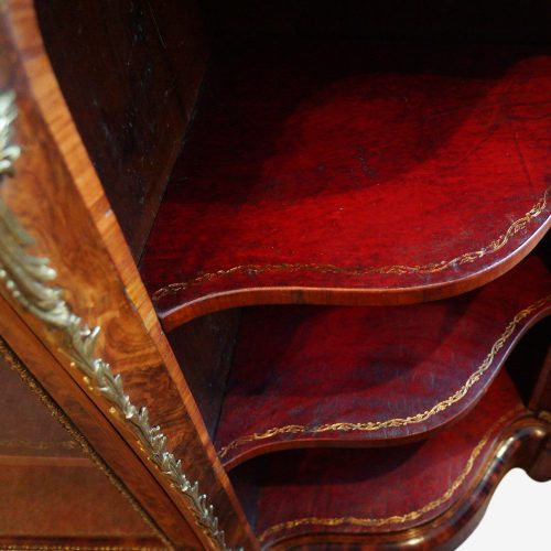 Victorian walnut open end credenza leather lined shelf