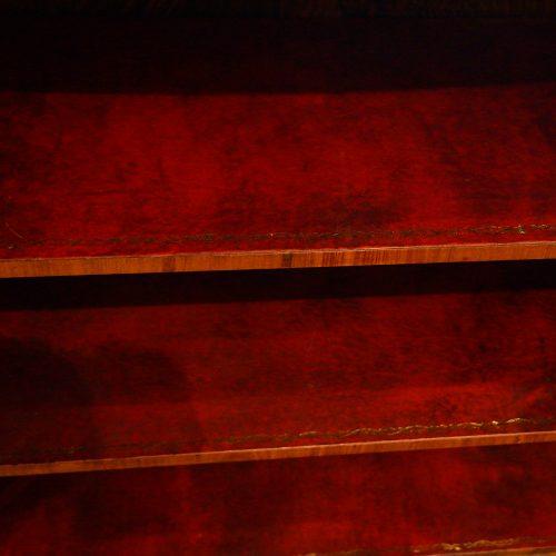 Victorian walnut open end credenza shelf detail