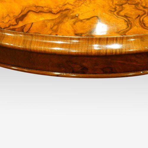 Victorian walnut oval coffee table , large edge