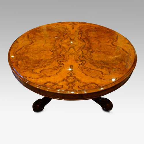 Victorian walnut oval coffee table , large end view