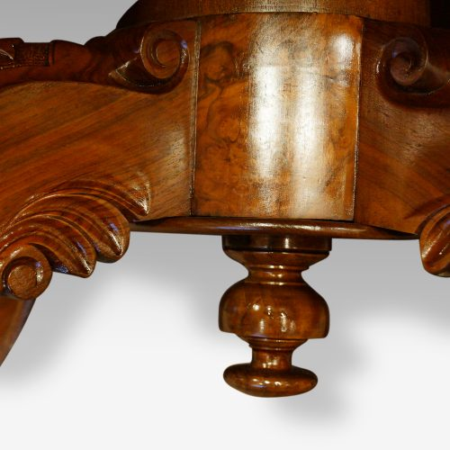 Victorian walnut oval coffee table , large finial