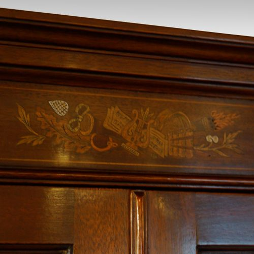 Edwardian inlaid mahogany display cabinet inlaid cornice