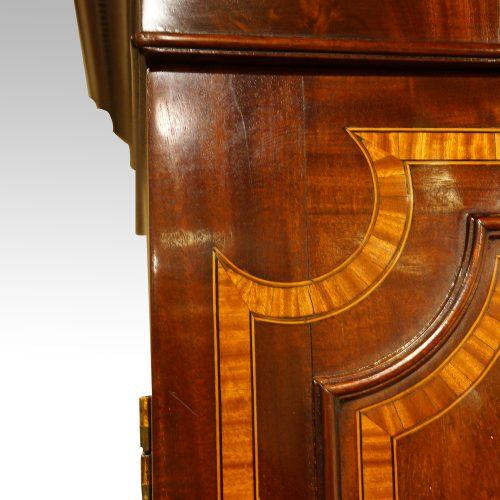 Georgian inlaid mahogany linen press detail inlay
