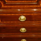 Georgian inlaid mahogany linen press front