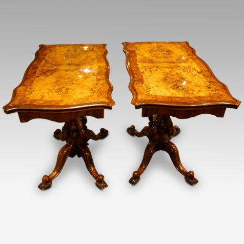 Pair of Victorian walnut cardtables