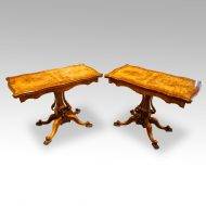 Pair of Victorian walnut cardtables at angle