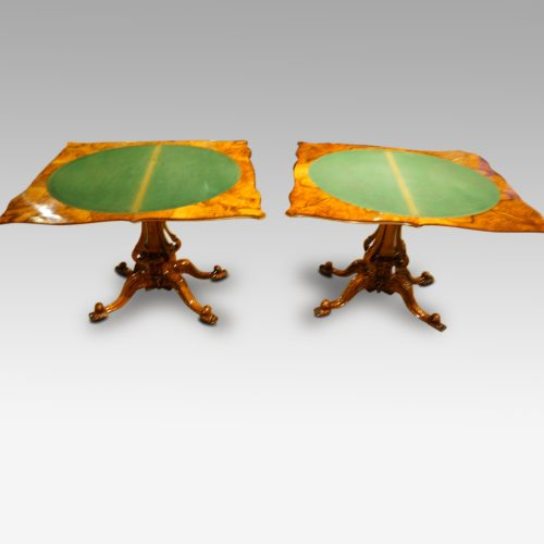 Pair of Victorian walnut cardtables both open