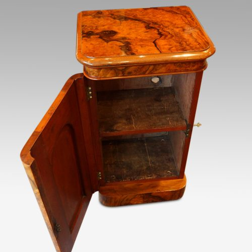 Victorian burr walnut cabinet interior