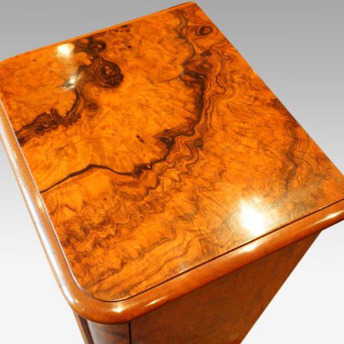 Victorian burr walnut cabinet top view