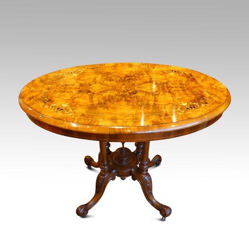 Victorian inlaid walnut oval table