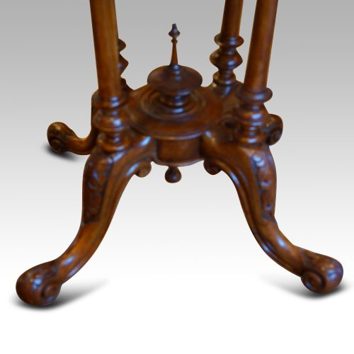 Victorian inlaid walnut oval table base