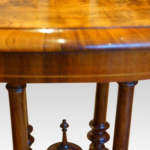 Victorian inlaid walnut oval table moulding