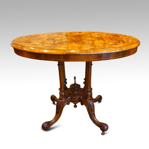 Victorian inlaid walnut oval table side