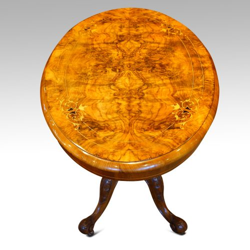 Victorian inlaid walnut oval table top view